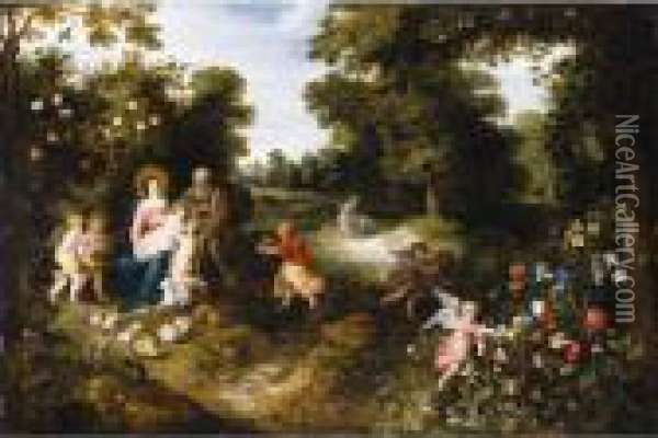 The Rest On The Flight Into Egypt Oil Painting - Jan Brueghel the Younger