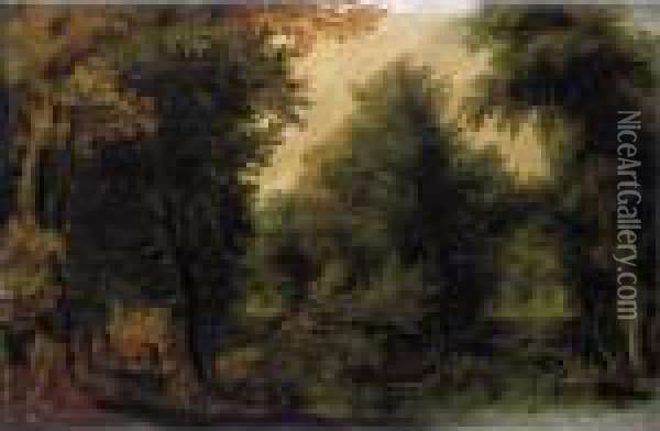 A Wooded Landscape With Travellers Oil Painting - Jan Brueghel the Younger