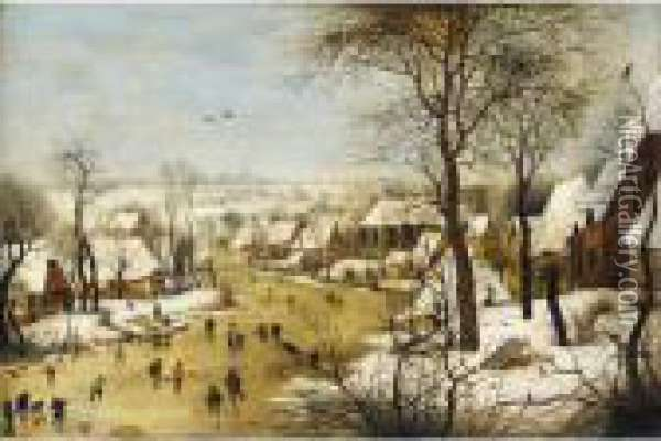 Winter Landscape With Skaters And A Bird-trap Oil Painting - Jan Brueghel the Younger