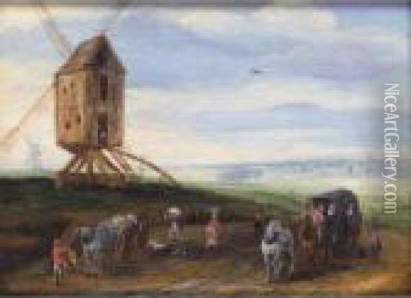 A Landscape With Waggoners On A Road Beside A Windmill Oil Painting - Jan Brueghel the Younger