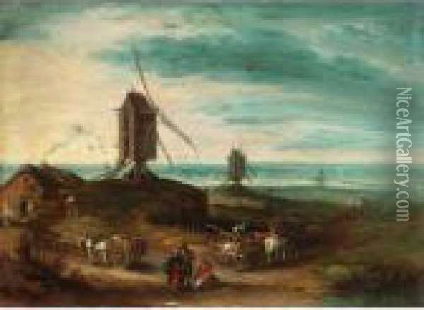 A Landscape With Windmills And Travellers Oil Painting - Jan Brueghel the Younger