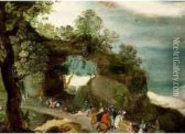 An Extensive Hilly Landscape With Horsemen And Travellers On A Path Oil Painting - Jan Brueghel the Younger