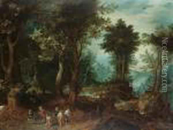A Wooded Landscape With Abraham And Isaac Oil Painting - Jan Brueghel the Younger