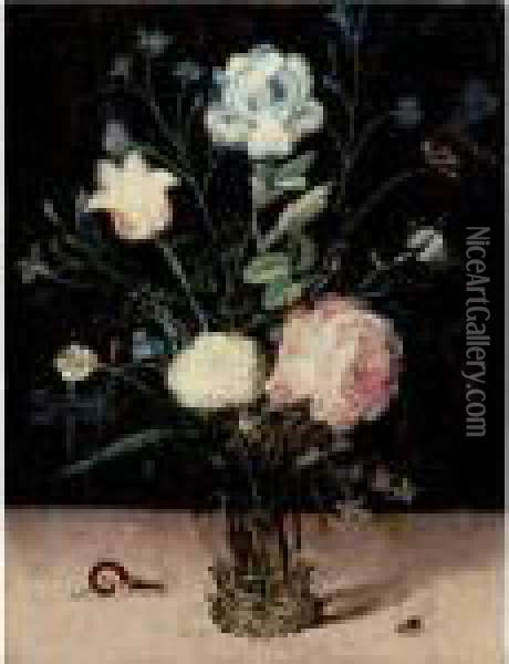 Still Life Of Flowers In A Glass Vase Oil Painting - Jan Brueghel the Younger