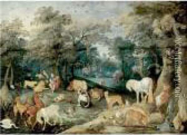 Orpheus Playing To The Animals Oil Painting - Jan Brueghel the Younger