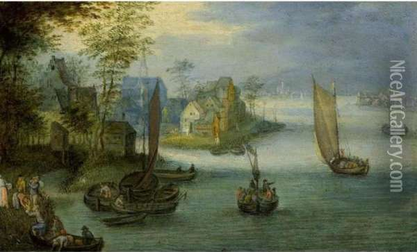 A River Landscape With Sailing 