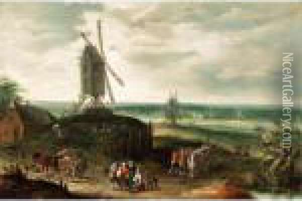 A Landscape With Windmills And Figures On A Path Oil Painting - Jan Brueghel the Younger