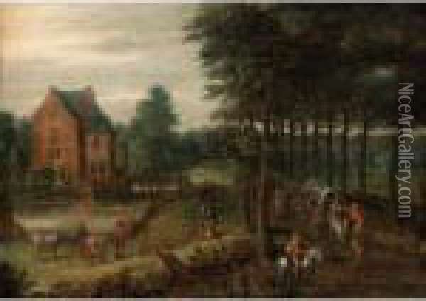 A Landscape With A Horse-drawn  Wagon, Figures On Horse-back And Others Walking On A Path By A Small  Manor Oil Painting - Jan Brueghel the Younger
