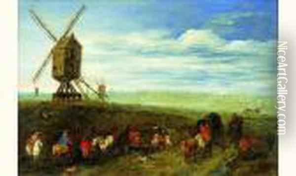 Paysage Au Moulin Avec Des Cavaliers Oil Painting - Jan Brueghel the Younger