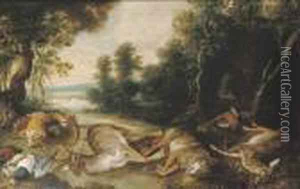 A Wooded River Landscape With A Stag, A Wolf, A Fawn, A Pheasantand Other Dead Game Oil Painting - Jan Brueghel the Younger