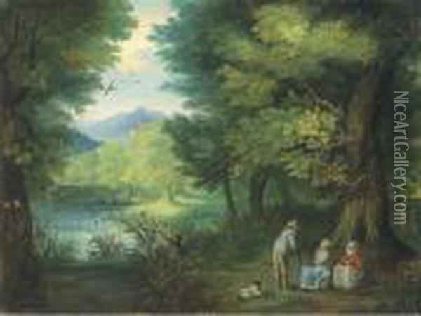 A Wooded Landscape With Travellers At Rest By A River Oil Painting - Jan Brueghel the Younger