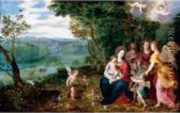 Landscape With The Rest On The Flight Into Egypt Oil Painting - Jan Brueghel the Younger
