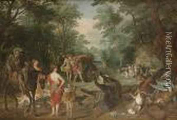 Diana The Huntress And Her Nymphs With The Spoils Of The Hunt Oil Painting - Jan Brueghel the Younger