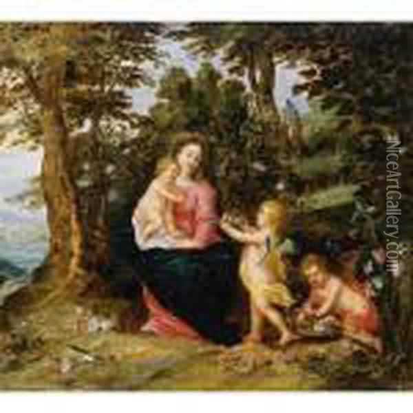 Virgin And Child With Two Angels In A Landscape Oil Painting - Jan Brueghel the Younger