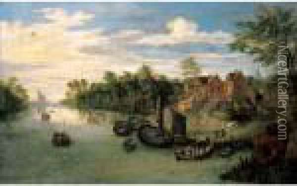 A River Landscape With A Ferry And Small Sailing Vessels Moored Before A Village Oil Painting - Jan Brueghel the Younger