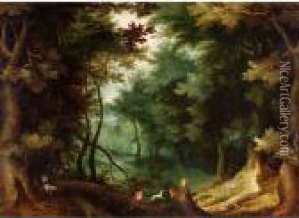 A Wooded Landscape With Hunters And Their Dogs. Oil Painting - Jan Brueghel the Younger