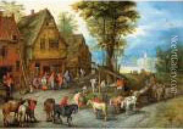 A Village Street With The Holy Family Arriving At An Inn Oil Painting - Jan Brueghel the Younger