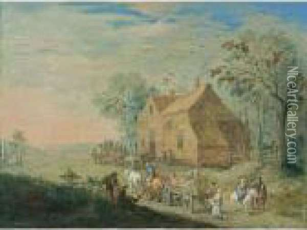 A Landscape With Travellers In Carts Near An Inn Oil Painting - Jan Brueghel the Younger