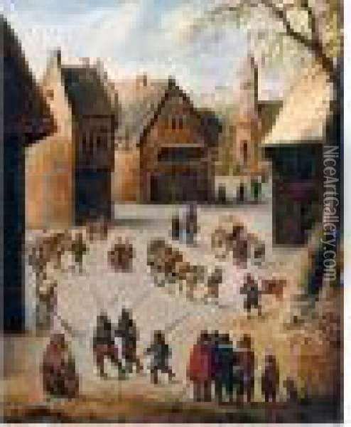 A Village Scene Oil Painting - Jan Brueghel the Younger