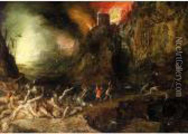 Hell Scene, With Devils Tormenting The Souls Of The Damned Oil Painting - Jan Brueghel the Younger