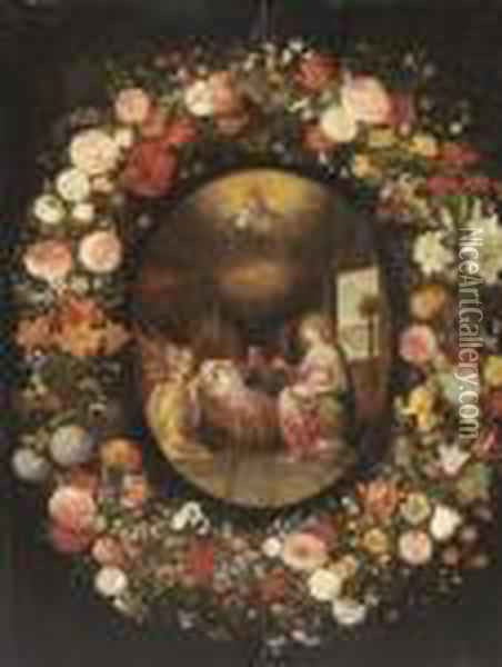 A Garland Of Roses, Tulips,  Jasmine And Other Flowers Encircling An Oval Of The Virgin With Angels  Adoring The Child In The Crib, With God The Father And The Holy Spirit Oil Painting - Jan Brueghel the Younger