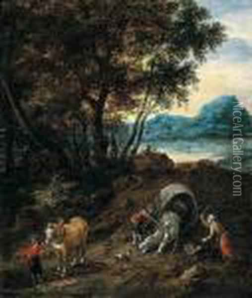 Figures And Horses Oil Painting - Jan Brueghel the Younger