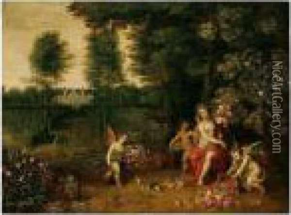 An Allegory Of Spring - Flora Attended By Putti In The Grounds Of A Country Villa Oil Painting - Jan Brueghel the Younger