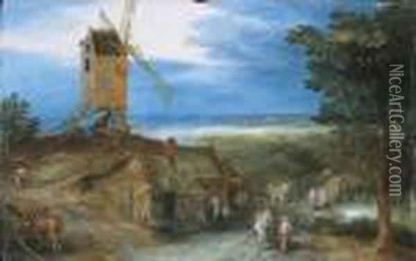 Travellers Passing A Cottage Oil Painting - Jan Brueghel the Younger