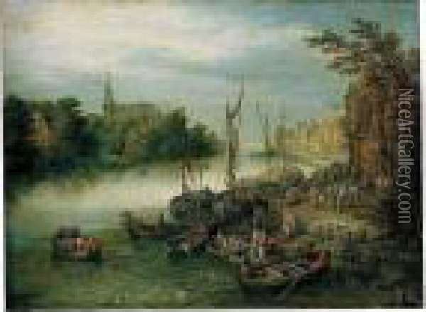 A View Of A River Quayside, A Church In The Distance Oil Painting - Jan Brueghel the Younger