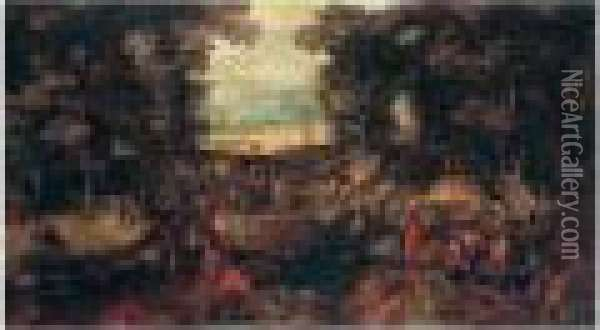 A Landscape With Travellers On A Forest Road Oil Painting - Jan Brueghel the Younger
