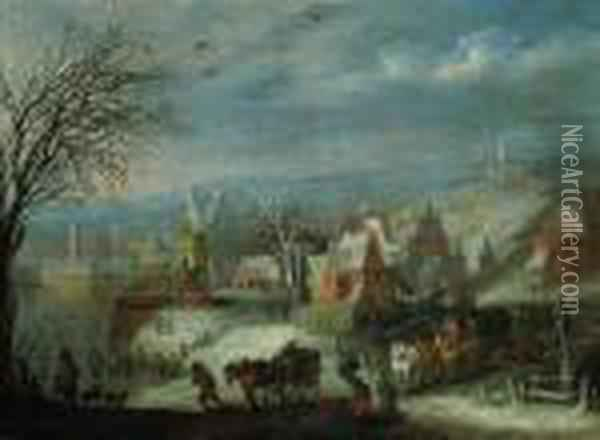 A Winter Landscape With Travellers By A Fortified Town Oil Painting - Jan Brueghel the Younger