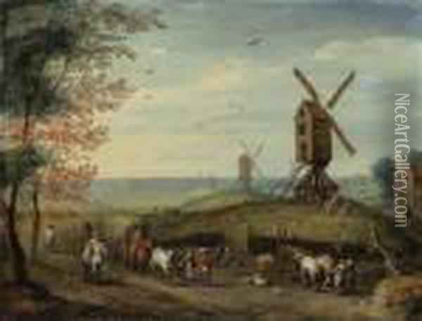 An Autumn Landscape With  Windmills And Peasants Harvesting; And Awinter Landscape With Skaters On  A Frozen River And Peasants On Apath By A Village Oil Painting - Jan Brueghel the Younger
