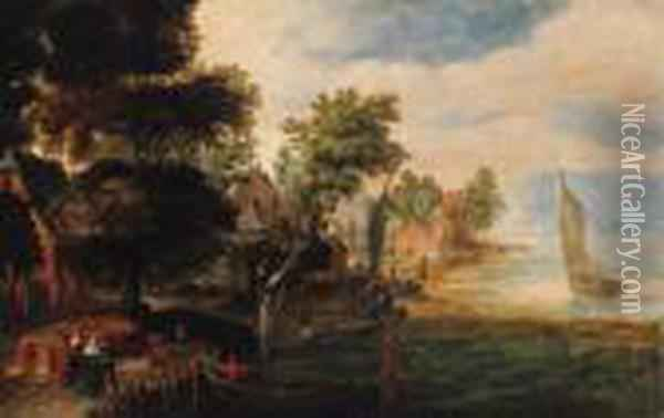 Elegant Company With Bargemen At A Village Landing Stage Oil Painting - Jan Brueghel the Younger