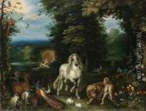 Animals And Birds In The Garden Of Eden, The Creation Of Evebeyond Oil Painting - Jan Brueghel the Younger