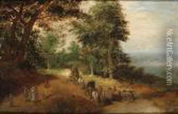 An Extensive Wooded Landscape With Travellers On A Track Oil Painting - Jan Brueghel the Younger