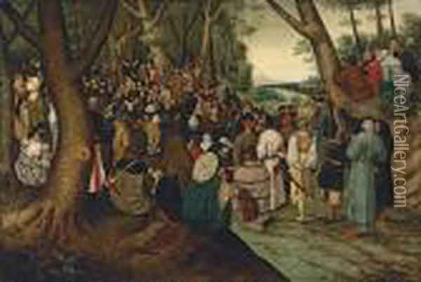 Saint John The Baptist Preaching To The Multitude Oil Painting - Pieter The Younger Brueghel