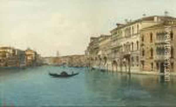 View Of A Canal With The Rialto Bridge Beyond, Venice Oil Painting - Emanuele Brugnoli