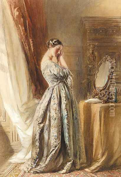 A lady at her toilette Oil Painting - William Henry Hunt