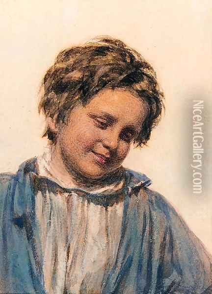 Study of a boy Oil Painting - William Henry Hunt