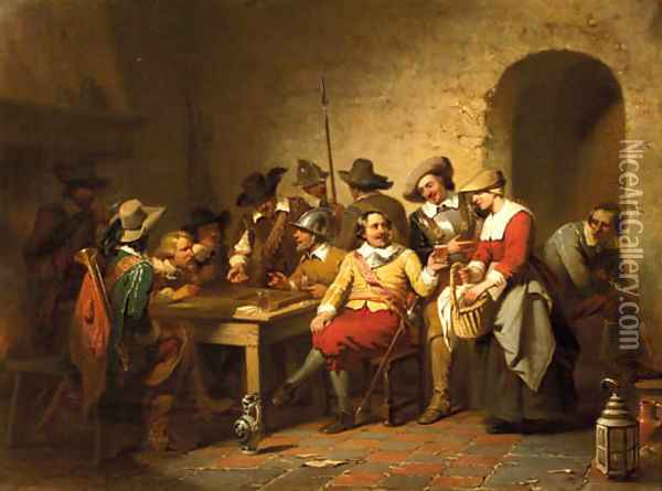 Soldiers playing backgammon in a tavern Oil Painting - Willem Pieter Hoevenaar