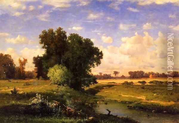 Hackensack Meadows Sunset Oil Painting - George Inness