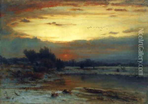 Winter, Close of Day (aka A Winter Day) Oil Painting - George Inness