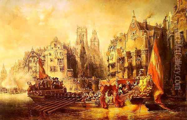 Arrival of the Duke of Alba at Rotterdam in 1567, 1844 Oil Painting - Eugene Isabey