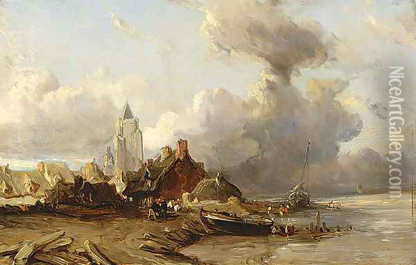 A Village by the Sea Oil Painting - Eugene Isabey