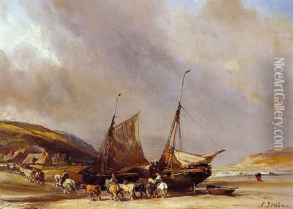 Riders on the Beach with Ship Oil Painting - Eugene Isabey