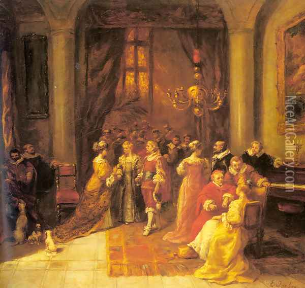 The Cardinal's Reception Oil Painting - Eugene Isabey