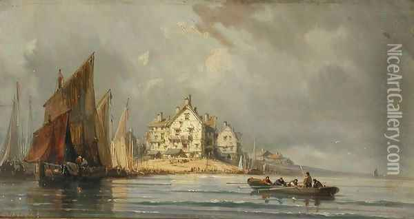Coastal Landscape with Boats and Constructions Oil Painting - Eugene Isabey