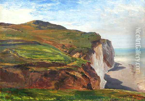 Normandy cliffs Oil Painting - Eugene Isabey