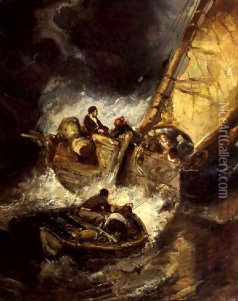 Boat in a storm Oil Painting - Eugene Isabey
