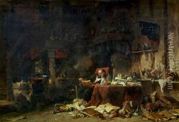 Interior of an Alchemists Study Oil Painting - Eugene Isabey